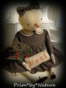 Primitive Winter Snowman Snow Girl Doll with PinKeep