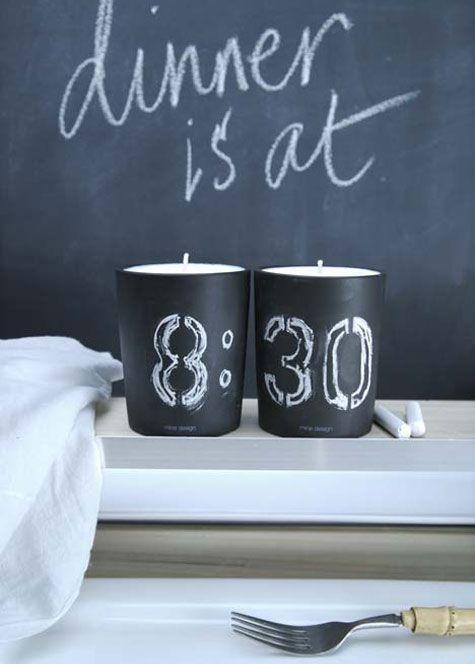 Nice idea! Chalk: Decor, Ideas, Chalkboards, Inspiration, Chalk Board, Dinners, Chalkboard Paint, Chalkboard Candles, Diy