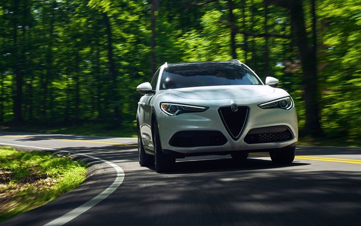 Download wallpapers 4k, Alfa Romeo Stelvio, road, 2018 cars, crossovers, italian cars, Alfa Romeo