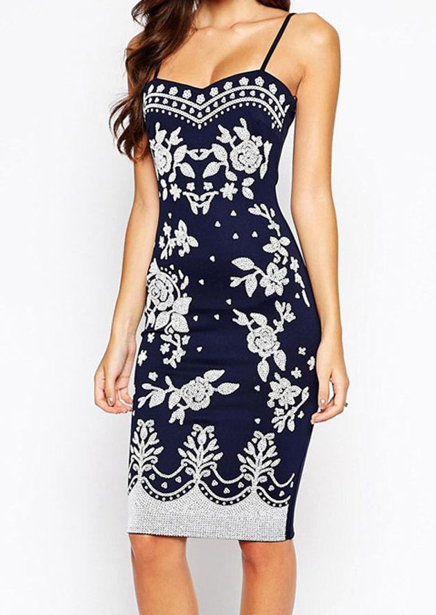 SExy Navy and White Floral Bodycon //