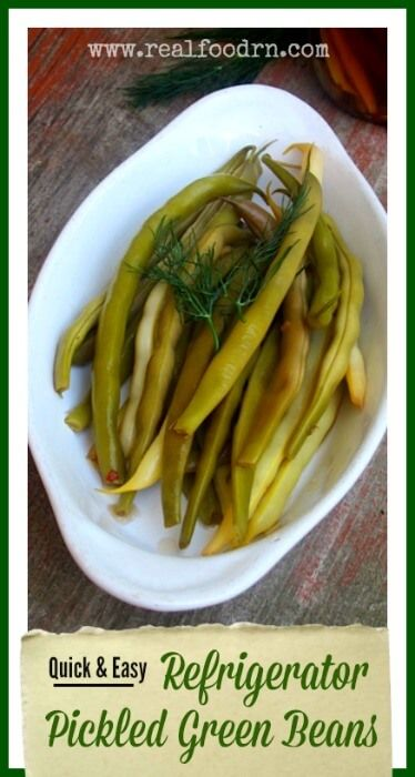 Easy Refrigerator Pickled Green Beans. Make use of all that wonderful garden produce. This recipe is really easy and makes delicious green beans (or anything you want to pickle!). No canning needed! realfoodrn.com #greenbeans #pickledbeans