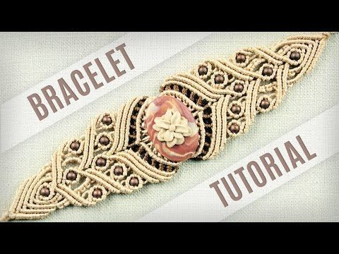 Macrame Stone Bracelet Tutorial in Vintage Style | Boho DIY - YouTube