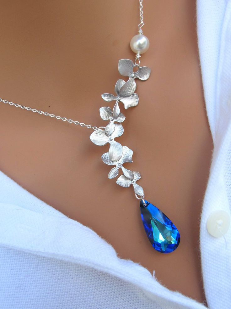 Peacock and Orchids sterling silver necklace. Bridal. Wedding. Bridesmaids Gift.. $39.00, via Etsy.