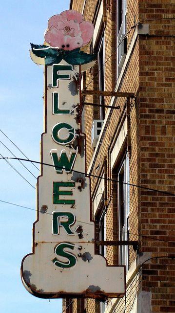 Vintage Flowers neon sign in Morgantown, WV.  Morgantown, Monongalia County, West Virginia.