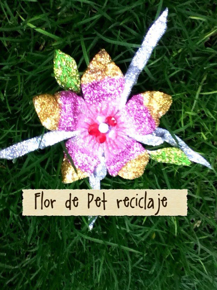 DIY botella PET reciclaje flores para rbol