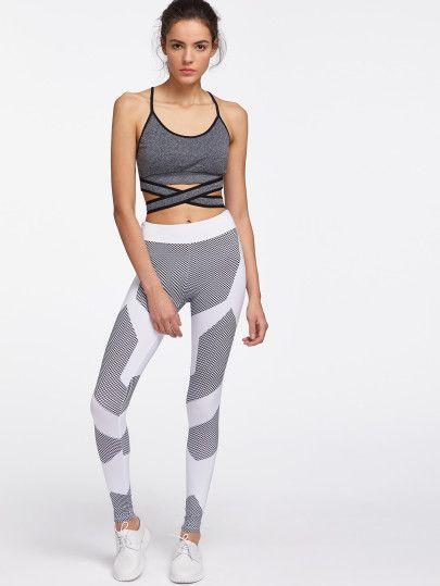 Color Block Honeycomb Pattern Gym Leggings