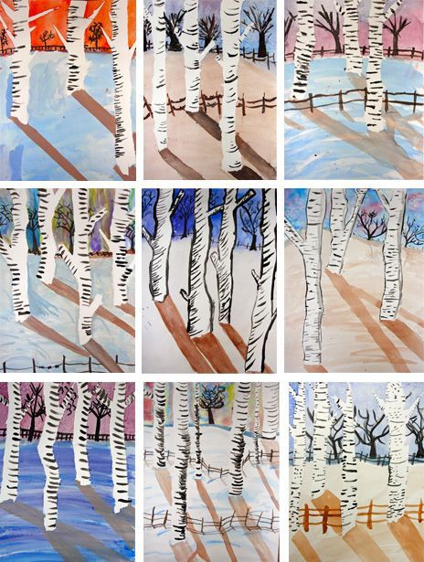 masking tape birch trees watercolor painting  - these are much nicer than the ones i usually see. beautiful light.