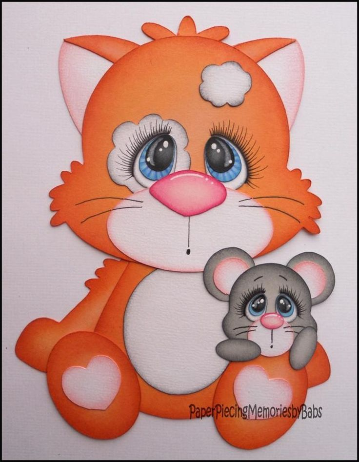 PRE-MADE PAPER PIECED CAT AND MOUSE FOR SCRAPBOOK MEMORIES by BABS