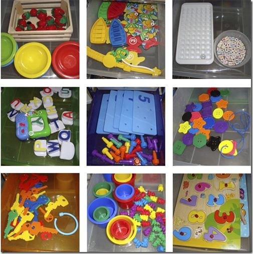 a few of the busy boxes: Tongs, fake food, & bowls. Ice cube tray & beads.  Large buttons and laces. Plastic keys & key hook. Wooden puzzles. Counting bears and buckets.