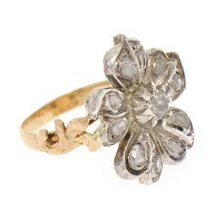 Image result for georgian rose cut diamond chips in silver flower ring