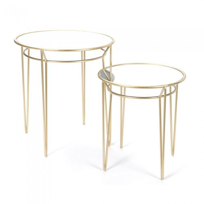 2 mesas auxiliares metal dorado redondas fabricando - Mesas auxiliares redondas ...