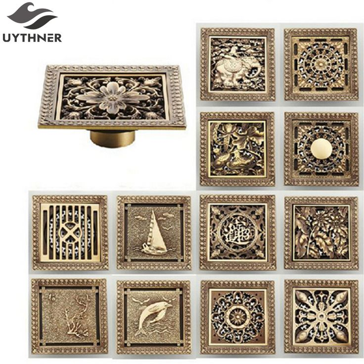 Uythner New Arrival Antique Brass 12*12cm Square Floor Drain Shower Drain Bathroom Furniture HJ-8701T