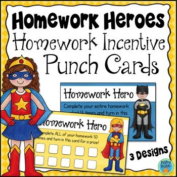 Punch card incentives for completing homework! Several versions to choose from.                                                                                                                                                                                 More