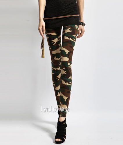 Women's Sexy Army Green Camouflage Printed Elastic Slim Pants Leggings Trousers