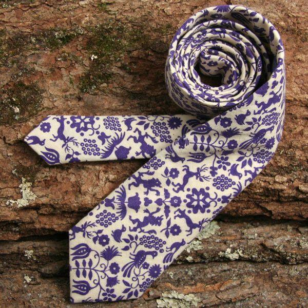 Vintage 1950s Folk Print Chambray Necktie - vintage ties handmade in the