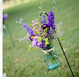 Wedding isle decor: Wild Flower, Ball Jars, Blue Mason Jars, Aisle Runners, Masons, Shepherd Hooks, Decoration, Flower Idea, Outdoor Weddings