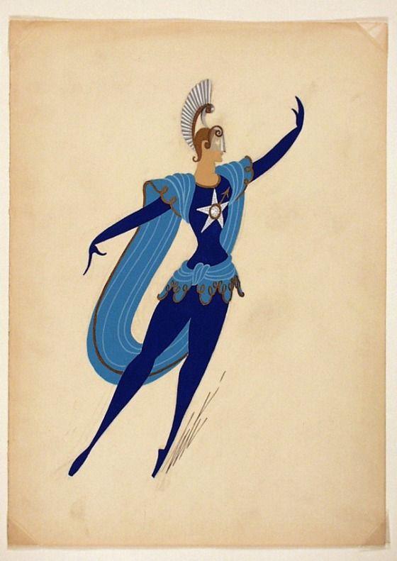 Erté, Costume Sketch, 'Horoscope Mars', circa 1946.