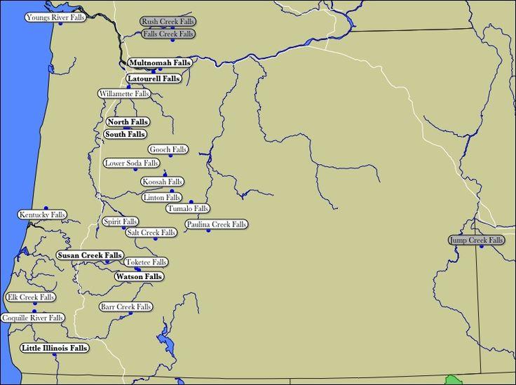 Map of Oregon WaterFalls