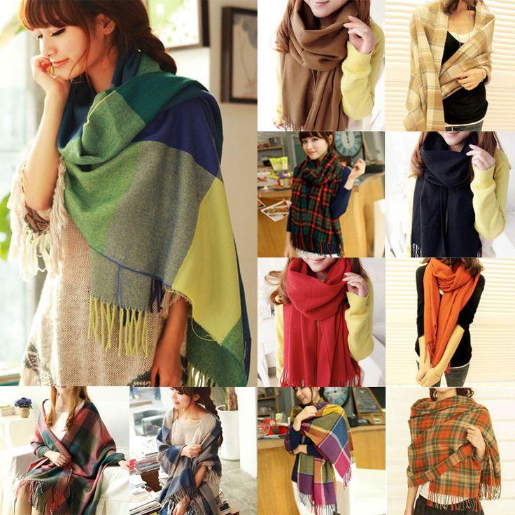 Women Winter Warm Soft Artificial Wool Scarf Plaid Knit Long Scarf Wrap Shawl…