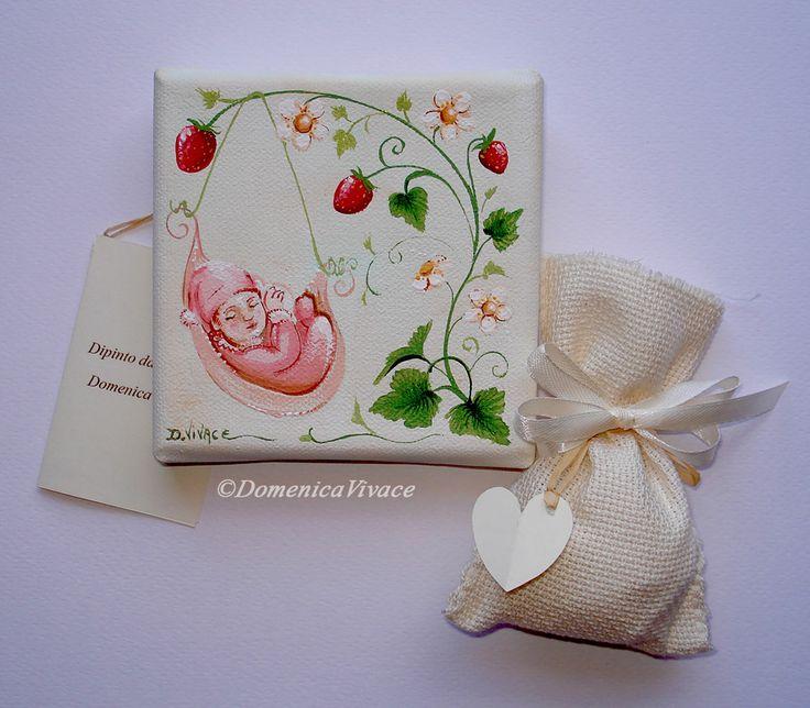 Bomboniera Battesimo, mini quadro cm 10x10 dipinto a mano, completa di sacchetto porta-confetti confezionato a mano.