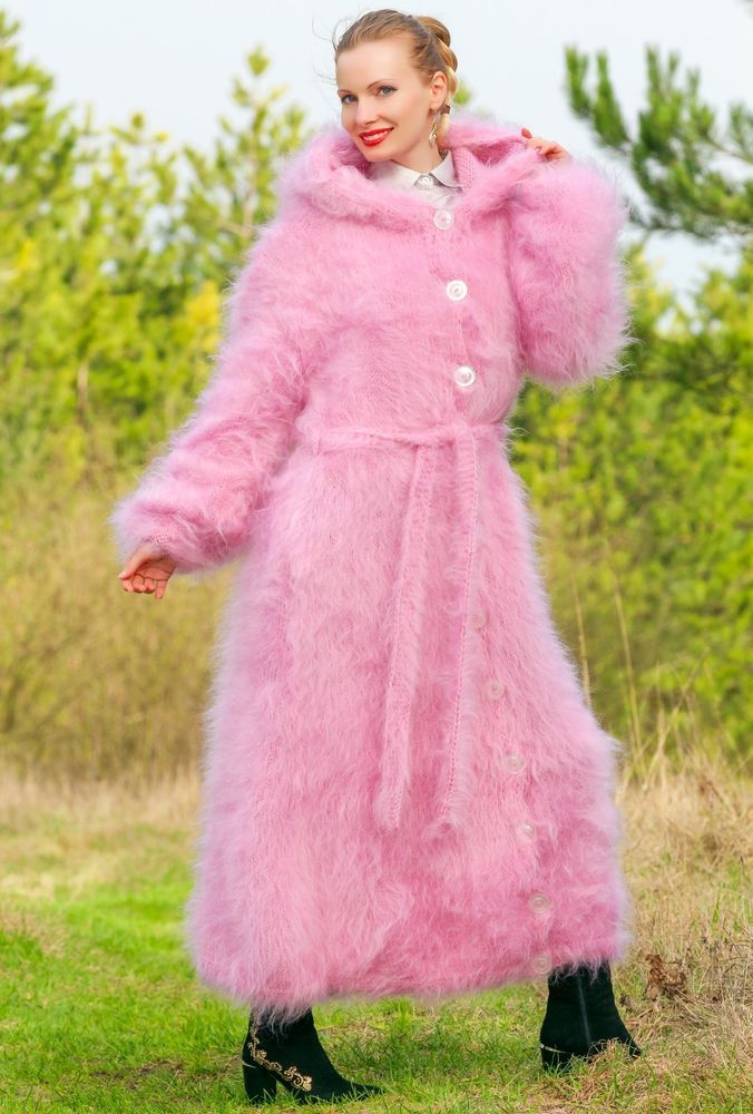 PINK Hand Knitted Mohair Sweater Coat Fuzzy Fuzzy Long Cardigan by ...