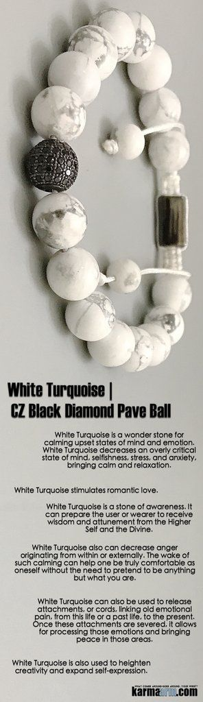 #White #Turquoise is a stone of awareness. It can prepare the wearer to receive #wisdom. It also stimulates #romantic #love. #Black #Diamond #Pave #Ball #Macrame #Crown  #Chakra #Beaded #giftsforhim #Yoga #Bracelet #Bracelets #Crystals #Energy #gifts #Han