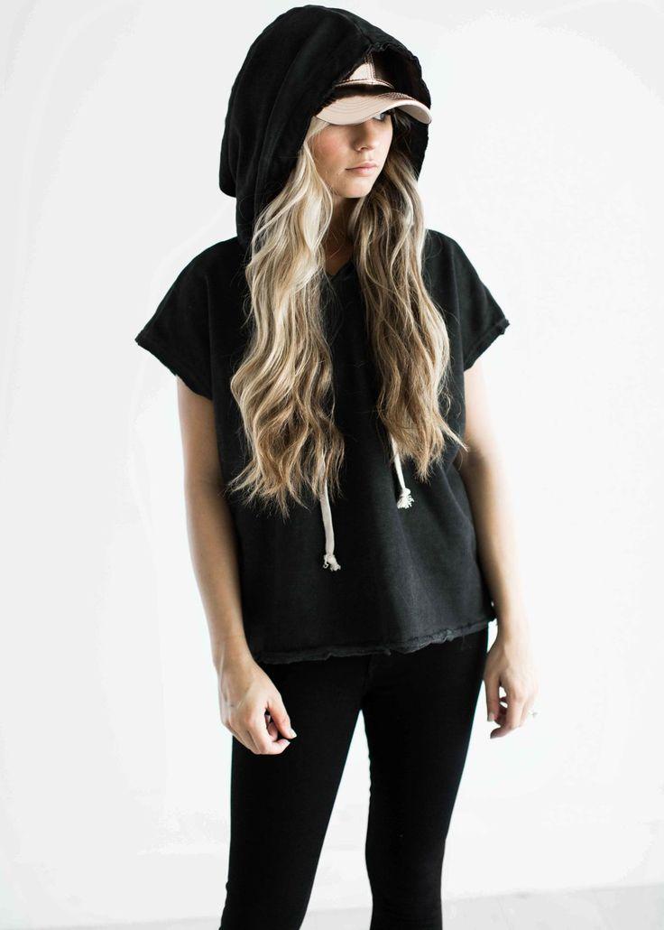 short sleeve hoodie, box hoodie, hoodies, rose gold baseball cap, jessakae, womens fashion, fashion, style, street style