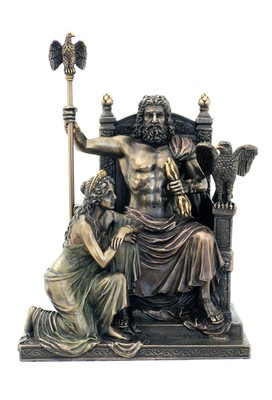 Zeus and Hera on Throne Roman Greek Mythology Statue Pagan Icon