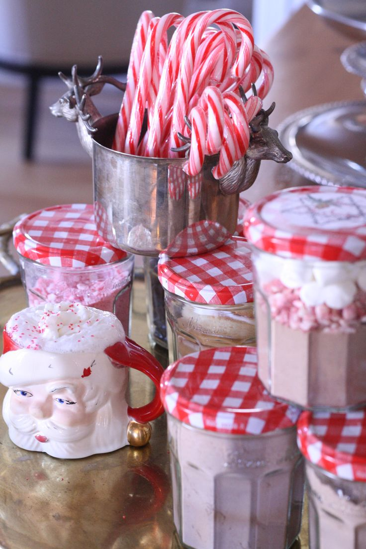 RE-PURPOSE - 'BONNE MAMAN' JAM JARS:  They work really well as storage containers but with their gingham lid they make ideal containers to hold 'GIFTS FROM THE KITCHEN'. I Love that mix of chocolate, candy cane bits and mini marshmallows - you just know that will make a really scrumptious hot chocolate. This is a good way to package Christmas gifts from the kitchen.