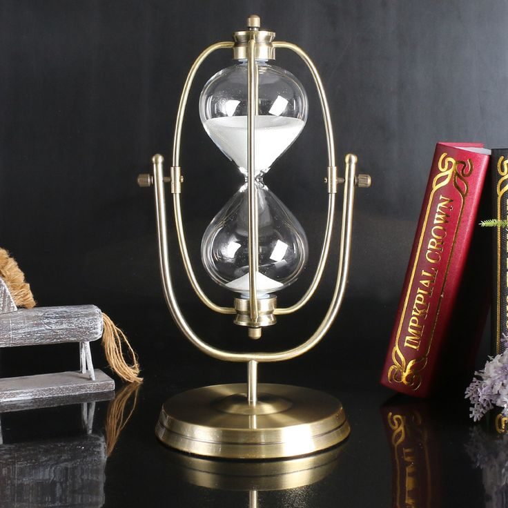 30 Minute Sand Hourglass Countdown Timing Rotation Sandglass Timer Clock Bronze European Style Home Decoration ampulheta