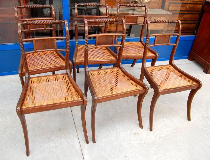 6 sedie in mogano inglesi schienale decorato e seduta in paglia di Vienna