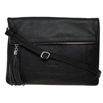 Black Grained Leather Crossbody Bag