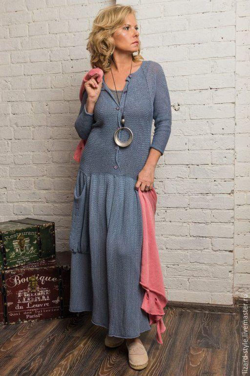 Купить Вязаное вручную платье в деревенском стиле (хлопок) - серый, темно-серый, джинсовый цвет