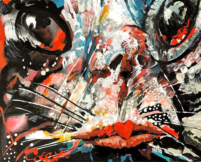 """As I became a cat (self-portrait)/En devenant une chatte (autoportrait) - Acrylic on canvas/Acrylique sur toile - 11"""" X 14"""""""
