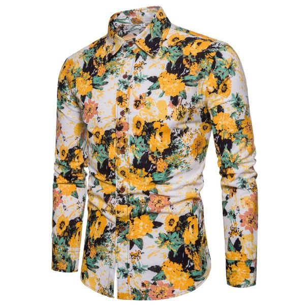 Men S Color Matching Long Sleeved Shirt Chemise A Fleurs Pour Hommes Wish Shirt Casual Style Men Shirt Style Casual Shirts For Men