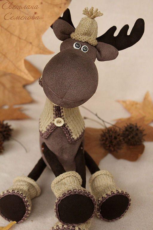 Лось. Прогулка в лесу. - коричневый,лось игрушка,лоси,интерьерная игрушка