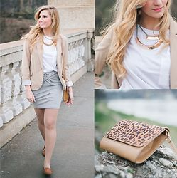 Cristina Siccardi - Stradivarius Beige Blazer, Stradivarius Gray Pencil Skirt, H&M Brown Suede Flat Shoes, Stradivarius Brown & Animalier Clouch Bag, H&M Light Blue And Gold Necklace, Bershka White Cotton T Shirt - Perfectly outfit for blonde ladies