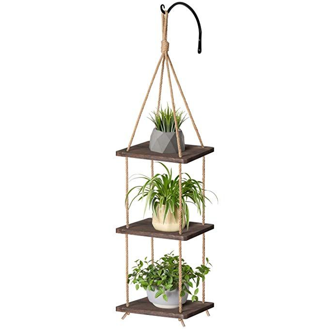 Mkono Wood Hanging Planter Shelf Plant Hanger 3 Tier Decorative Flower Pot Holder With Jute Rope Curved Decorated Flower Pots Metal Plant Hangers Plant Hanger