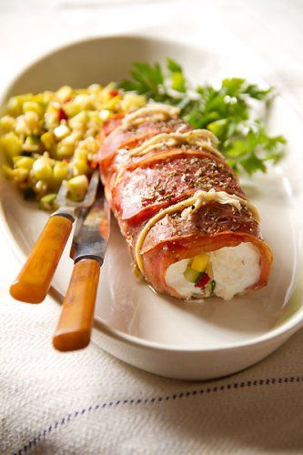 Prosciutto-Wrapped Halibut with Summer Squash: Dinner, Fish Seafood, Prosciutto Wrapped Halibut, Seafood Dishes, Recipes, Summer Squash, Halibut Recipe, Squashes