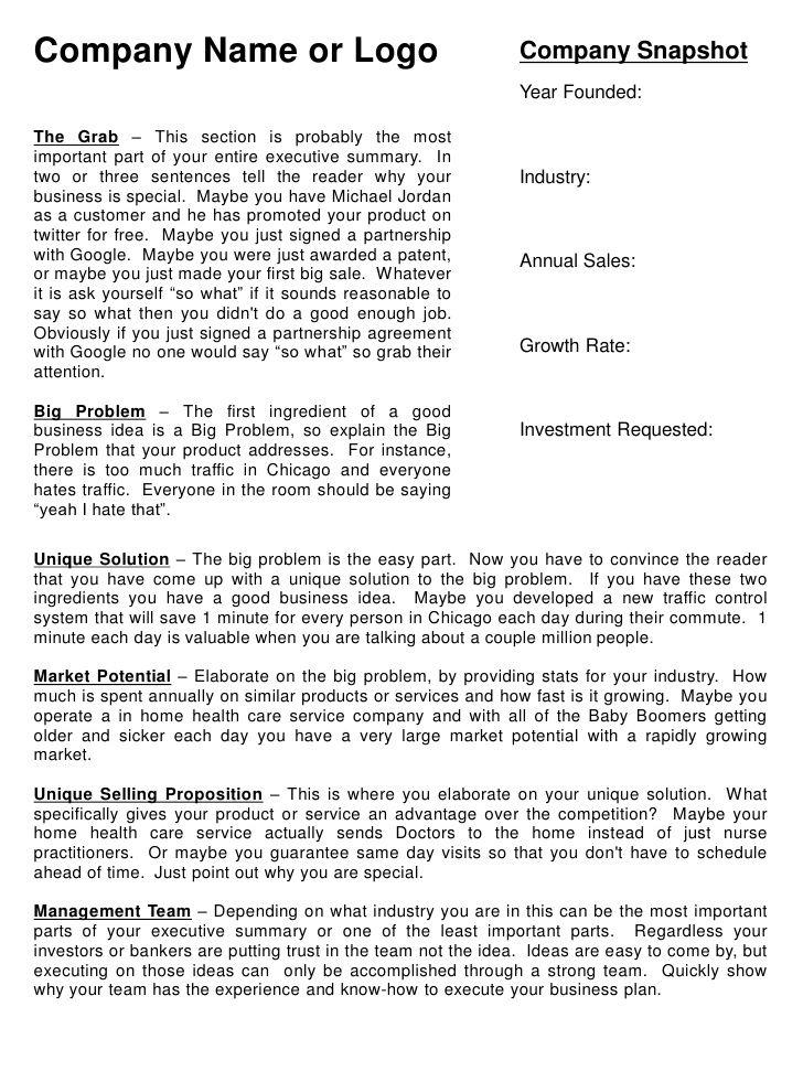template for an executive summary