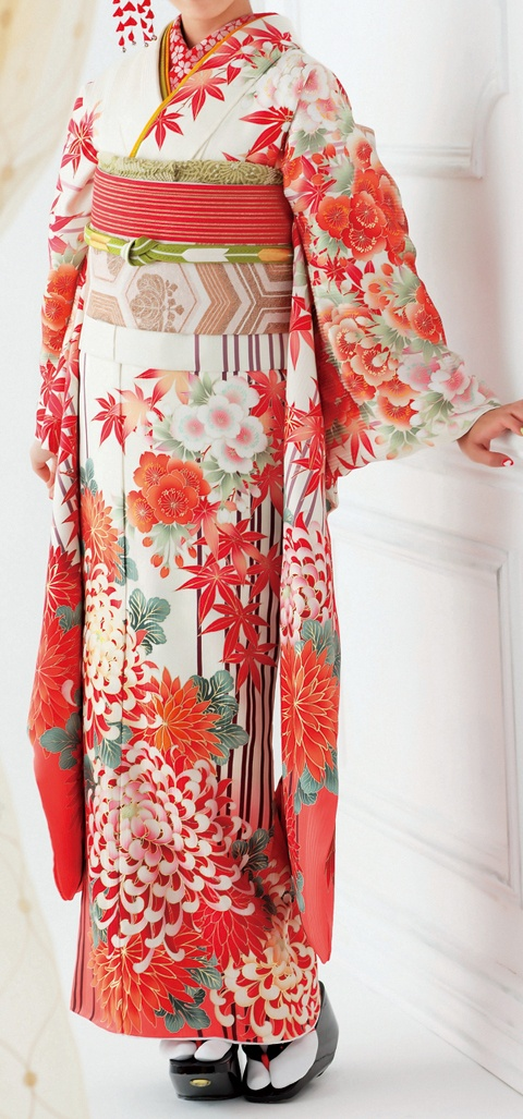 Furisode gorgeous kimono in corals, white and greens.
