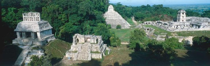 Palenque (Mexico) / Panorama photo Palenque (Mexiko), Ruined city from the classical Maya Culture, 1st millennium – (f. l. t. r.) Sun Temple, Pyramid of the Inscriptions, Palace. | akg-images - Search Result