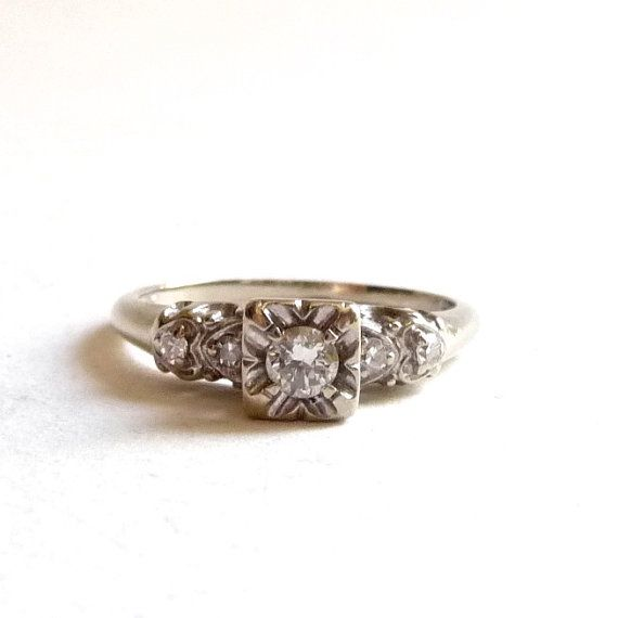 1950s Engagement Ring White Gold and Diamond