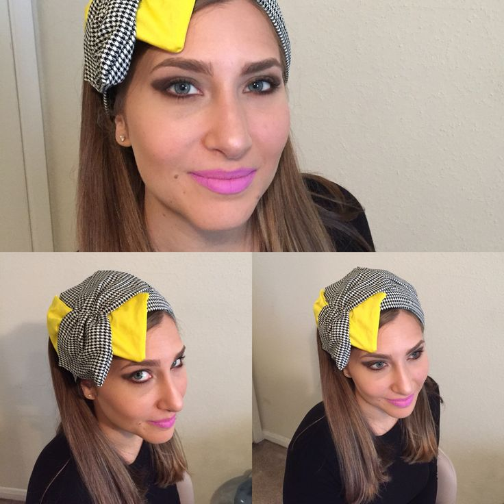 Fun black/white/yellow half head cover/head band. www.elishevashoham.com
