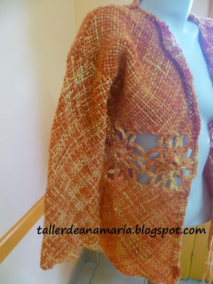 Cuadrados unidos a crochet, trabajo realizado por alumna del taller.