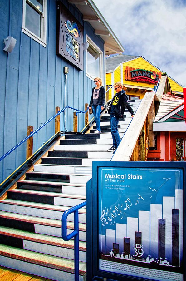 Musical Stairs - Pier 39 - San Francisco. These musical stairs actually play the appropriate musical note as you step on them. Very clever, unique and pleasing