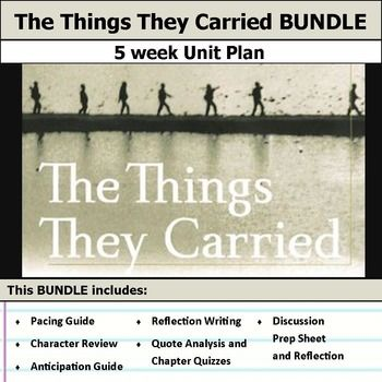 5 weeks of lesson plans. Includes pacing guide, film essay, activities, chapter quizzes, and discussions. This bundle has everything you need to get started teaching The Things They Carried in an engaging way!