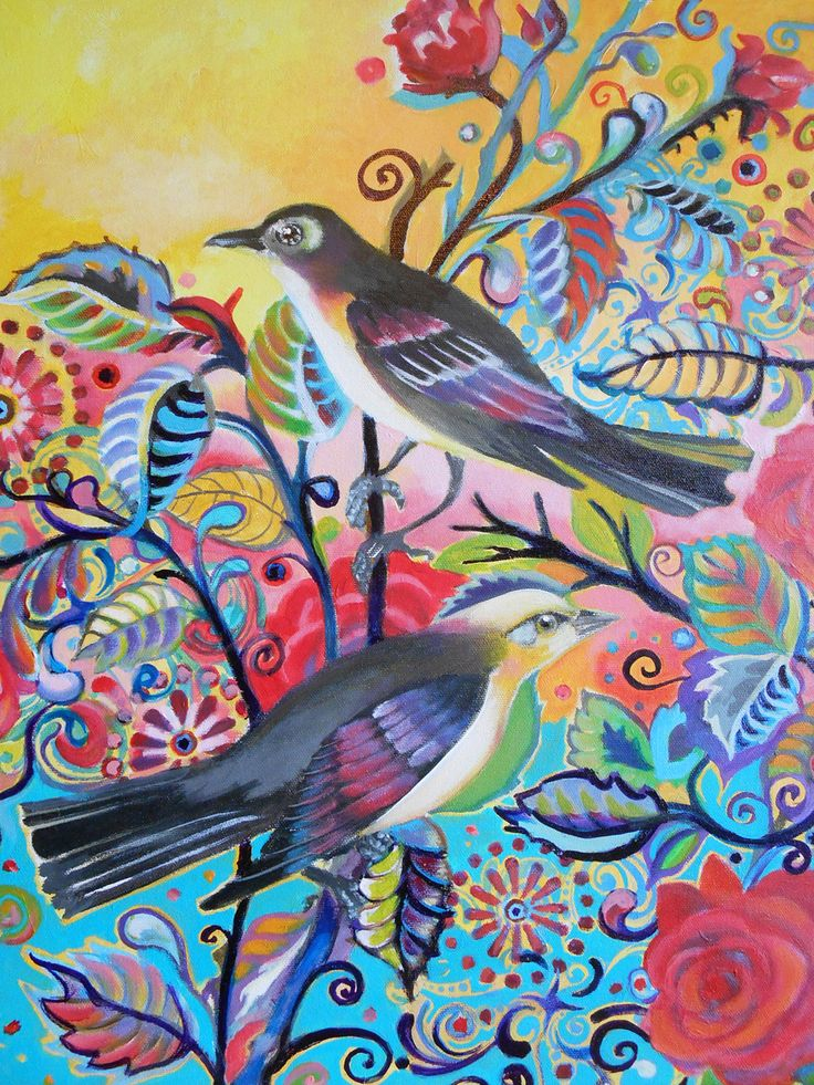 "Bohemian Songbirds - 16"" x 20"" Original Acrylic by e. bradshaw - atelierbaba on etsy"