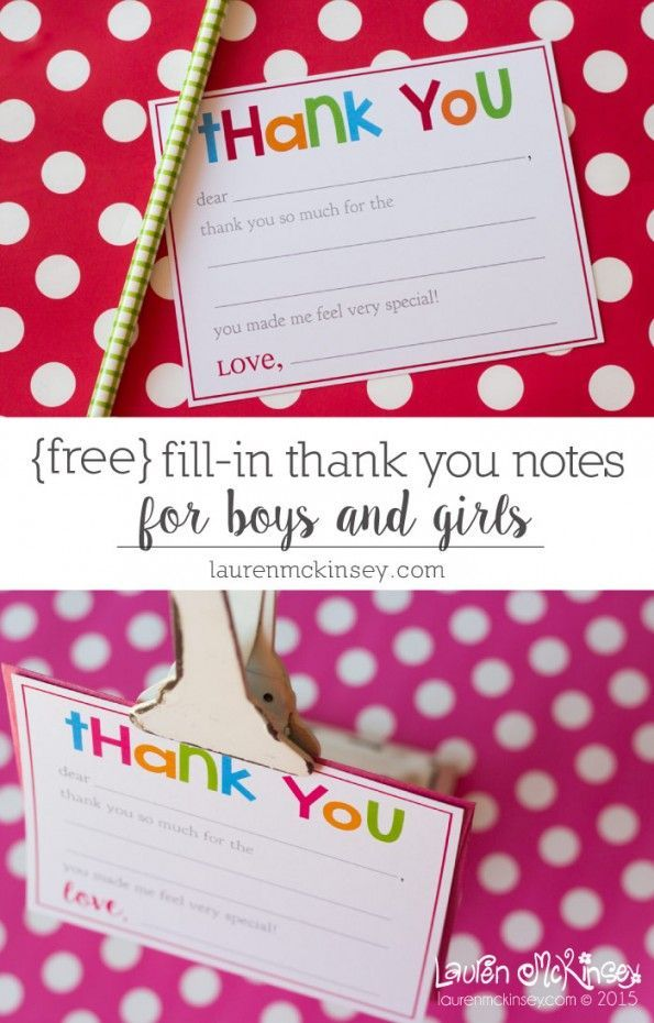 Fill in printable thank you notes for kids