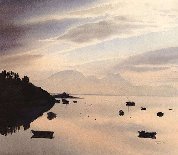 Calm, an original watercolour painting by Rob Piercy